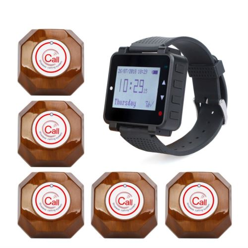 Retekess T128 Wrist Watch Receiver with 5 Brown Call Button