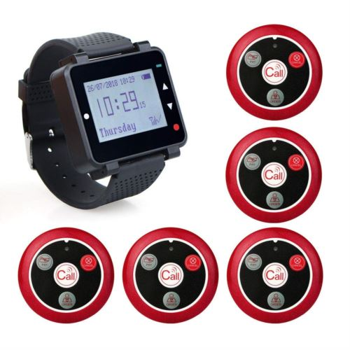 Retekess T128 Wireless Calling System Wrist Receiver with 5 Red Call Buttons