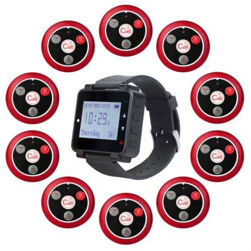 T128 Wrist Watch Receiver with 10 Service Call Buttons for Restaurant Church