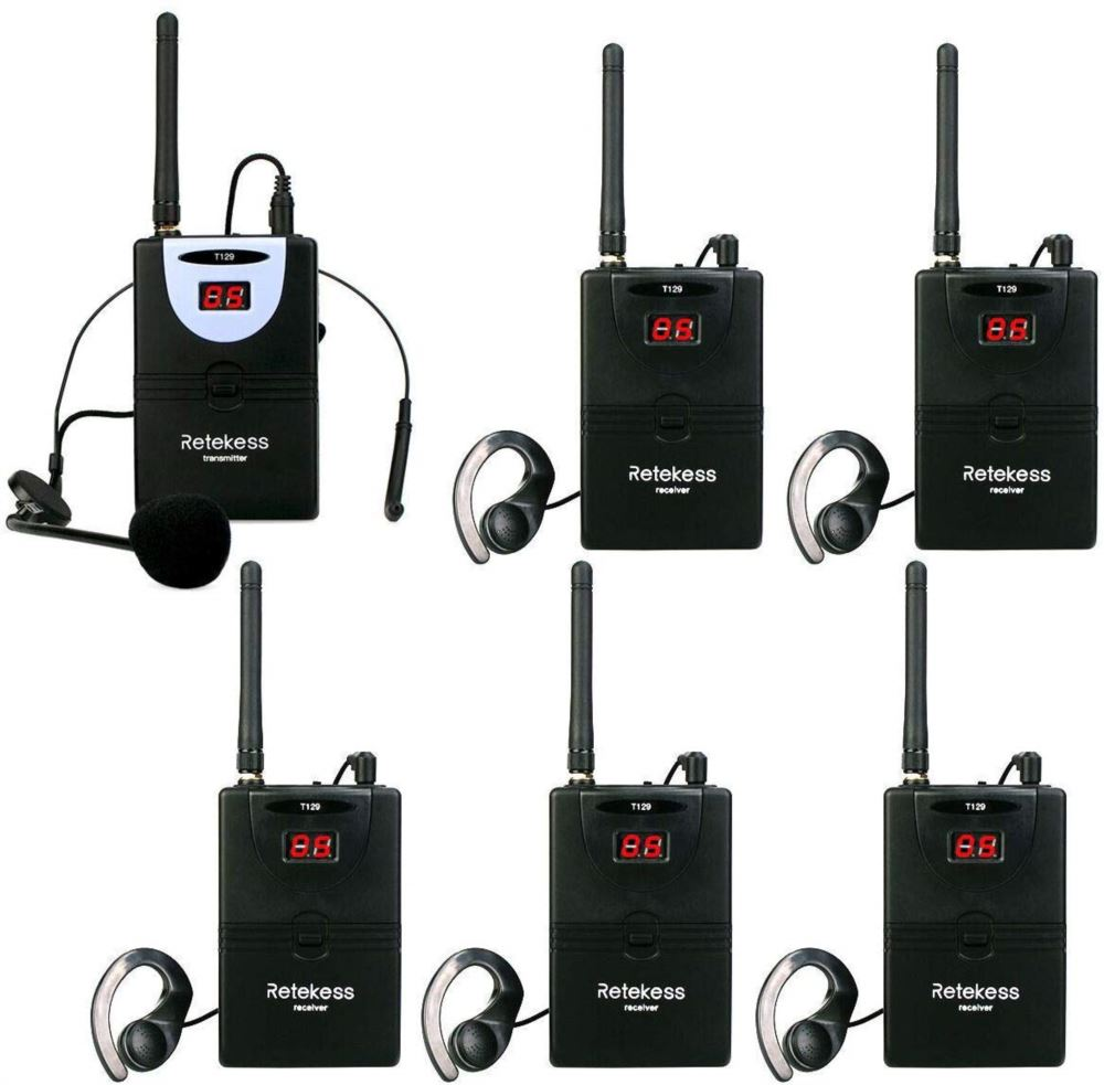 Retekess T129 Tour Guide System 1 Transmitter and 5 Receivers 2.4GHz