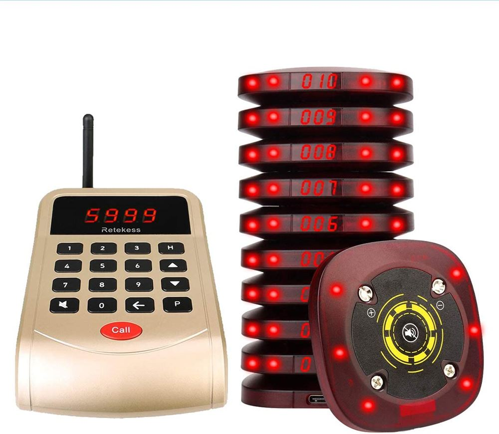 T118 Wireless Coaster Pager System 999 Channel For retaurant