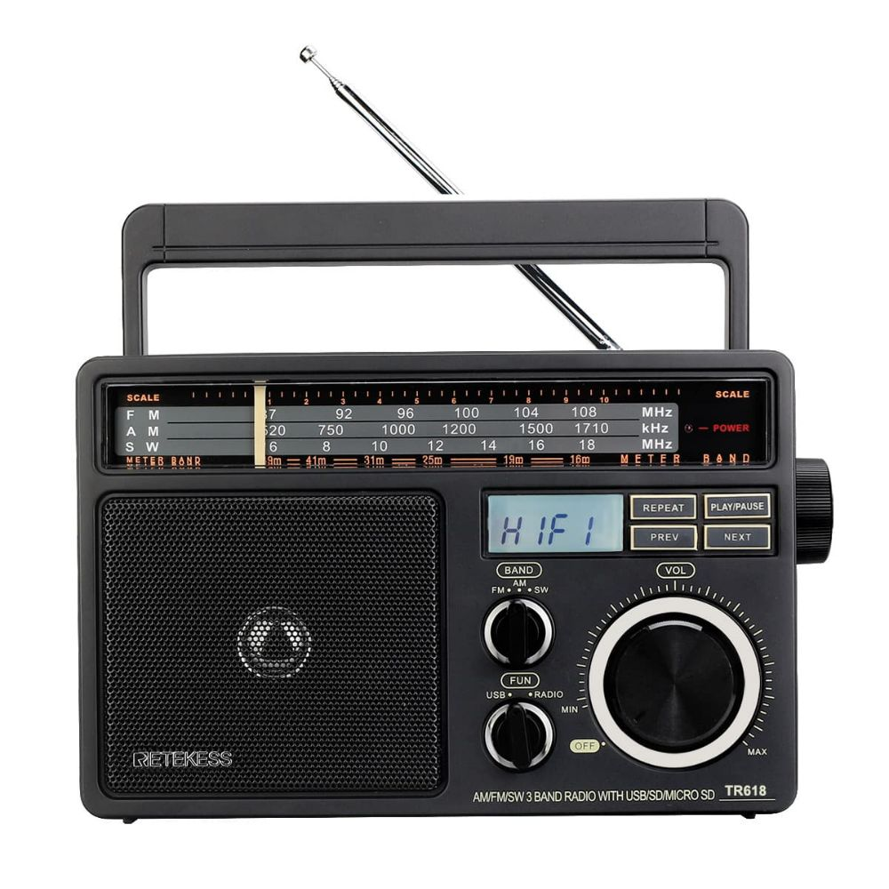 TR618 AM FM SW Portable Radio Support USB SD and TF Card