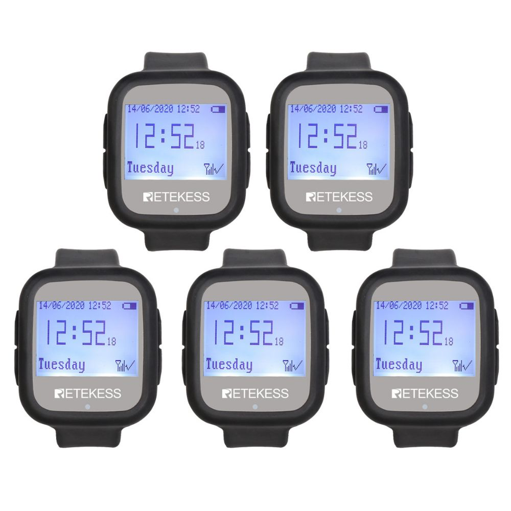 Retekess TD106 Wireless Calling System Watch Receiver 5 pack