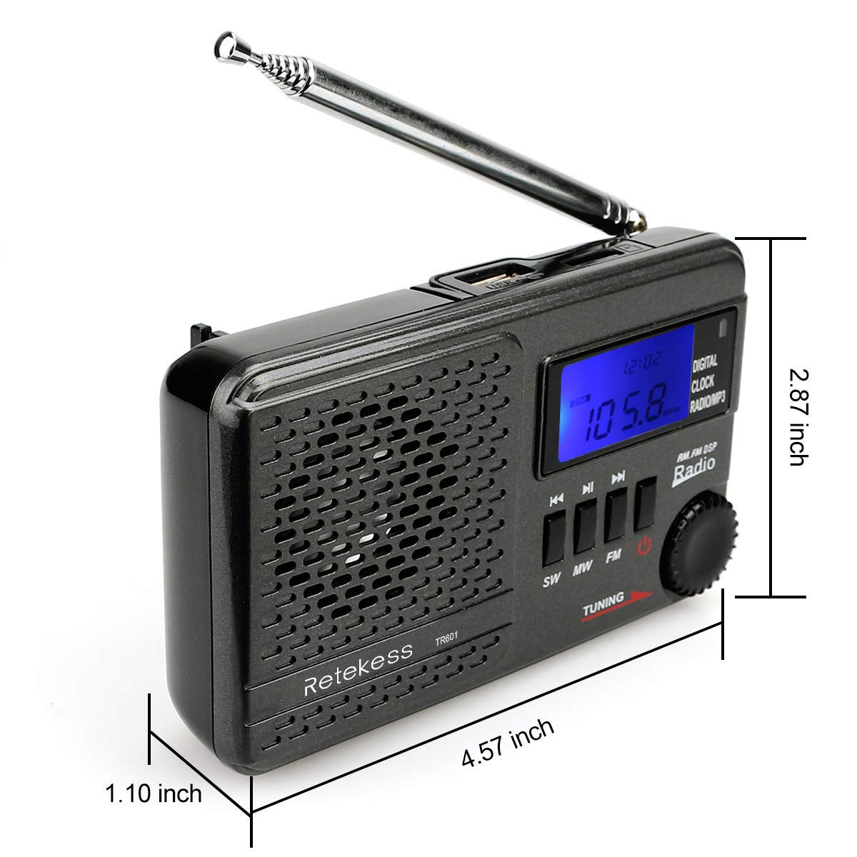Retekess TR601 AM FM Radio Portable Shortwave Radio Support